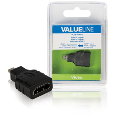 Valueline HDMI adapter HDMI micro-connector - HDMI input zwart Kabel adapter