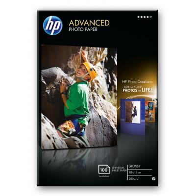 Hp fotopapier: Advanced Photo Paper, glanzend, 100 vel, 10 x 15 cm zonder rand - Zwart, Blauw, Wit