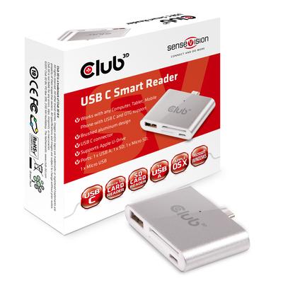 CLUB3D USB C Smart Reader Docking station - Aluminium,Zilver,Wit