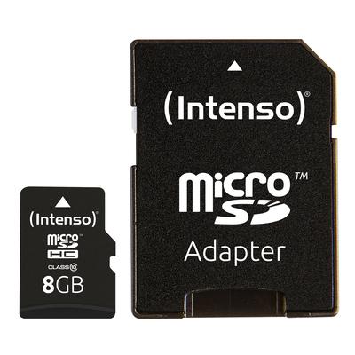 Intenso 8GB MicroSDHC Flashgeheugen - Zwart