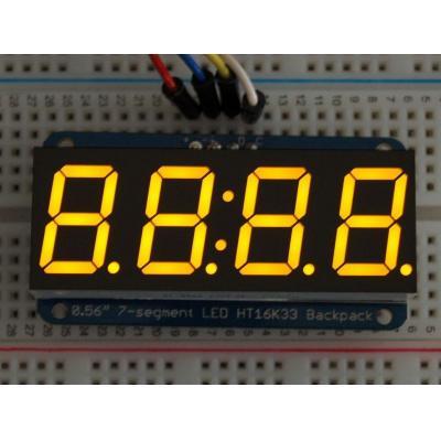 "Adafruit : 1.4224 cm (0.56 "") 4-digit 7-segment LED, 4-pin, I2C 7-bit, yellow"