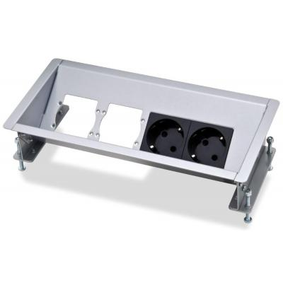 Kindermann Open desktop casing for 4 adapter plates, 2x mains, 2x empty module Inbouweenheid - Zwart, Zilver