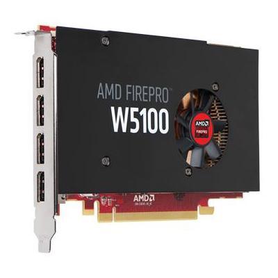 Dell videokaart: AMD FirePro W5100, 4GB GDDR5, DirectX 11.2/12, OpenGL 4.43, Shader Model 5.0 - Zwart, Rood