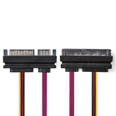 Nedis Interne Voedingskabel, SATA 22-Pins Male - SATA 22-Pins Female, 0,5 m, Diverse Electriciteitssnoer