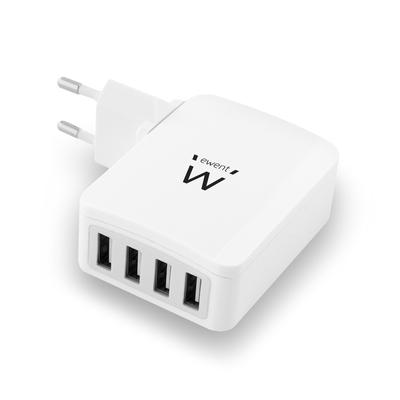 Ewent oplader: 4-Poorts Smart USB Lader, 5.4A - Wit