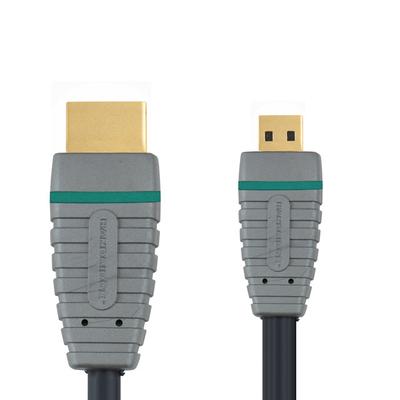Bandridge 2m HDMI HDMI kabel - Zwart, Grijs