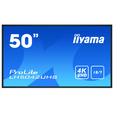 """Iiyama 49.5"""", 3840x2160, 16:9, VA, 8 ms, VGA, HDMI, DVI, RS-232C, RJ-45, IR, S/PDIF, USB, Android OS 8.0, ....."""