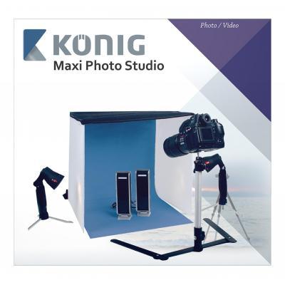 König Foldable mini photo studio halogen, 60 x 60 x 60 cm photo studio equipment set - Zwart, Blauw, Rood, .....