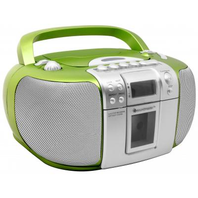 Soundmaster CD-radio: CD Boombox with Radio and Cassette Player, FM/FM-ST,CD/CD-R/RW, Green - Groen, Zilver