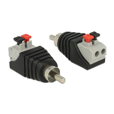 DeLOCK Adapter RCA male > Terminal Block with push button 2 pin Kabel adapter - Zwart,Grijs,Rood