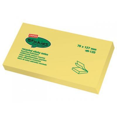Staples zelfklevend notitiepapier: Notitieblok recycled SPLS 76x127 gl/pk12