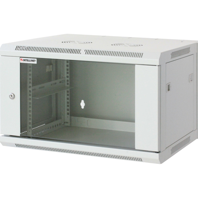 "Intellinet 19"" Wallmount Cabinet, 12U, 635 (h) x 600 (w) x 600 (d) mm, Max 60kg, Assembled, Grey Rack - Grijs"