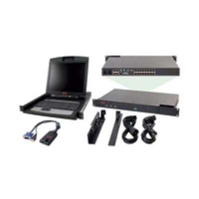 """APC 2x1x16 IP KVM w/ 17"""" Rack LCD & USB VM Server Module Bundle KVM switch - Zwart"""