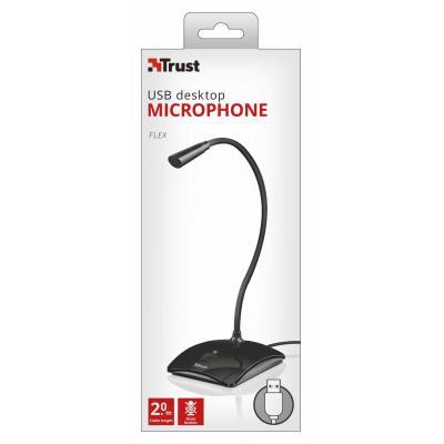 Trust microfoon: Omni, USB, 50Hz-16kHz, Cable 2m, 298g - Zwart