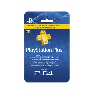 Sony game assecoire: PlayStation (Belgian) - 3 maanden Plus Card Hang (PS4 / PS3 / PS Vita)