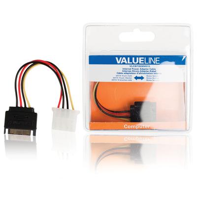 Valueline Interne stroom adapterkabel SATA 15-pin mannelijk - Molex vrouwelijk 0,15 m veelkleurig - Zwart, .....