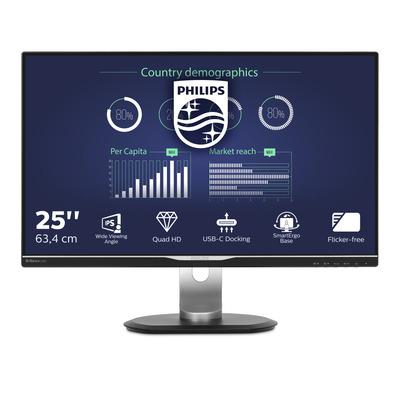 """Philips B Line LCD-van 63,4 cm (25"""") met USB-C-dock Monitor - Zwart"""