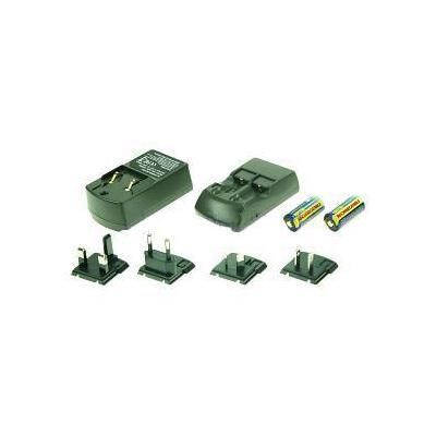 2-power oplader: Charger for CR123A, 110-240V, Black - Zwart