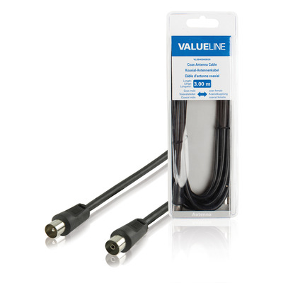 Valueline Coax antennekabel, coax mannelijk - coax vrouwelijk, 3.00 m, zwart Coax kabel