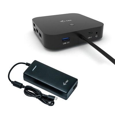 I-tec USB-C Dual Display with Power Delivery 100 W + Universal Charger 112 W Docking station - Zwart