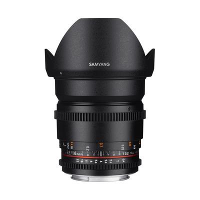 Samyang 16mm T2.2 VDSLR ED AS UMC CS II, Canon Camera lens - Zwart