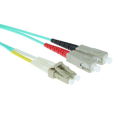 ACT 27 meter LSZH Multimode 50/125 OM3 glasvezel patchkabel duplex met LC en SC connectoren Fiber optic kabel - .....