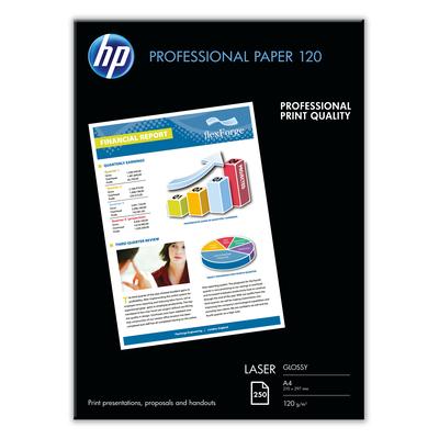 Hp papier: Professional Laser Paper, glanzend, 120 gr/m², 250 vel, A4/210 x 297 mm - Wit