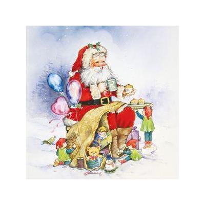 Herma sticker: Window decoration Santa Claus and family 30x30 cm - Multi kleuren