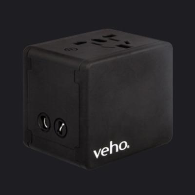 Veho 4-Port USB 5V 3.5A, Input 100-250VAC, USB Output 5V 3500mA Oplader - Zwart