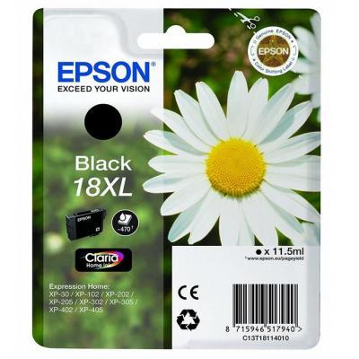 Epson inktcartridge: 18XL inktcartridge zwart high capacity 11.5ml 470 pagina s 1-pack blister zonder alarm