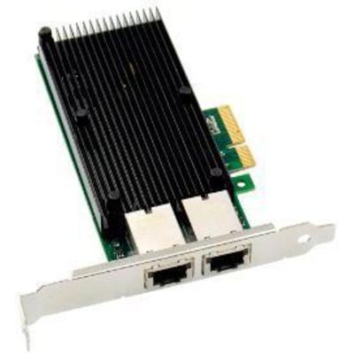 Microconnect PCIe x4 Dual RJ45 10 GbE X550 Netwerkkaart - Zwart,Groen