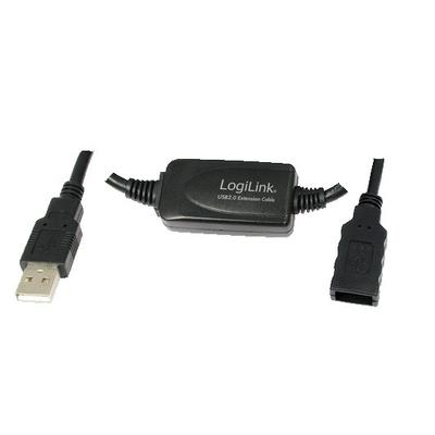 LogiLink 15M USB 2.0 - USB 2.0 M/F USB kabel - Zwart