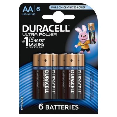 Duracell batterij: Batterijen Ultra Power, Alkaline, 6 x AA - Zwart, Goud