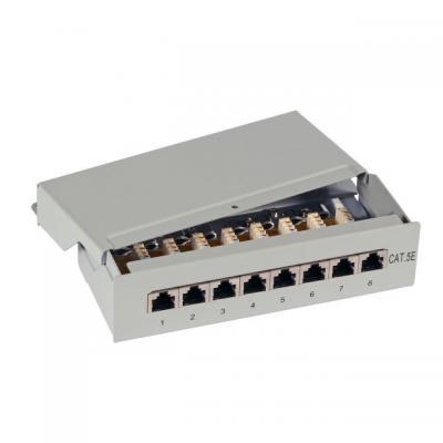 EFB Elektronik Mini-Patchpanel, 12 Port, Cat.5e Patch panel - Grijs
