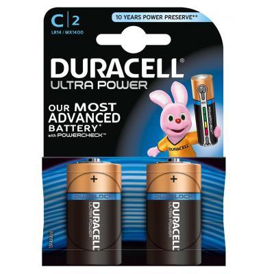 Duracell batterij: Ultra Power alkaline C-batterijen, verpakking van 2 - Zwart, Goud