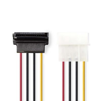 Nedis Interne Voedingskabel, Molex Male - SATA 7-Pins Female 90° Gehoekt, 0,15 m, Diverse - Zwart, Rood, Wit, Geel
