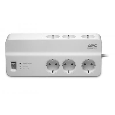 Apc surge protector: Overspanningsbeveiliger 2300W 6x stopcontact - Wit