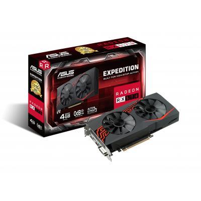 Asus videokaart: EX-RX570-4G - Zwart, Rood