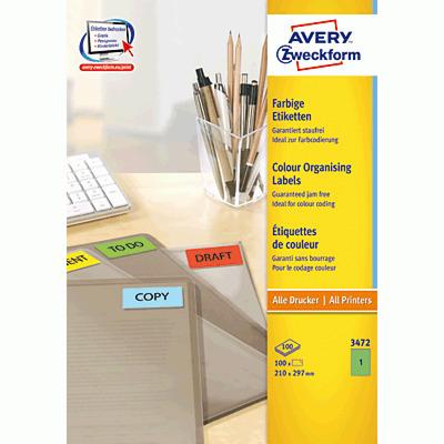 Avery 210 x 297 mm, 100 pcs, A4, groen Etiket