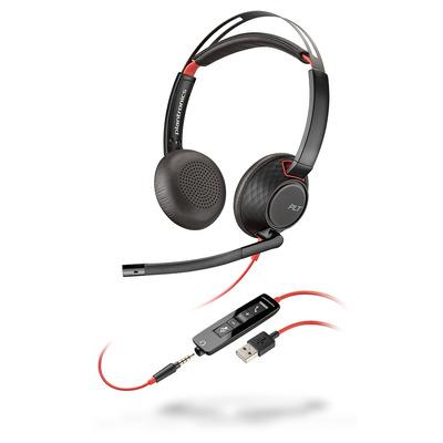 POLY Blackwire C5220 Headset - Zwart, Rood