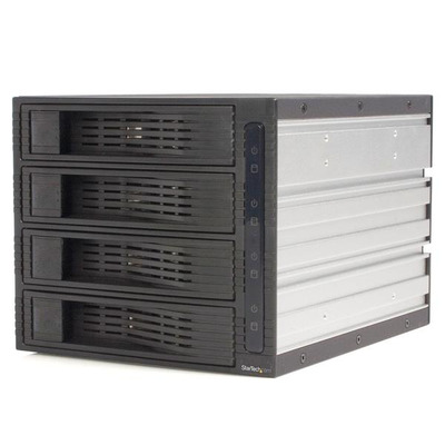 StarTech.com 4-Bay 3,5 inch Hot-Swappable SATA Mobile Rack Backplane Drive bay - Zwart