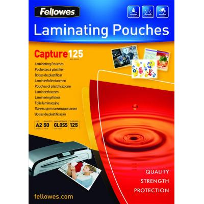Fellowes laminatorhoes: 125 micron lamineerhoes glanzend A2 - 50 pak - Transparant