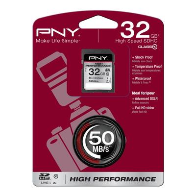 PNY 32GB SDHC Flashgeheugen - Zwart