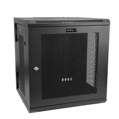 Startech.com rack: 12U Wall-Mount Server Rack Cabinet - Up to 17 in. Deep - Hinged Enclosure - Zwart