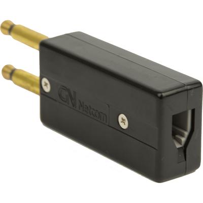 Jabra 2 prong to RJ9 modular conversion plug Kabel adapter - Zwart