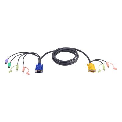 Aten 5M PS/2 met 3 in 1 SPHD en Geluid KVM kabel - Zwart