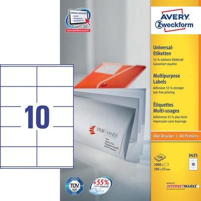 Avery 105 x 57 mm, 1000 pcs, wit Etiket
