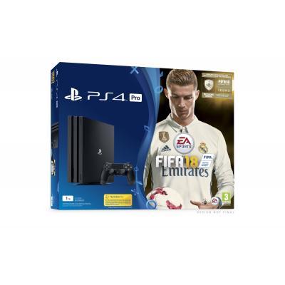 Sony spelcomputer: PlayStation 4, Console Pro (Black) + 1 TB + FIFA 18 Ronaldo Edition PS4
