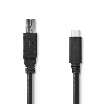 Nedis Kabel USB 2.0, Type-C male - B male, 1,0 m, Zwart USB kabel