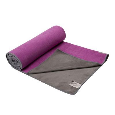 Gaiam haddoek: Gaiam, Duogrip Yoga Handdoek (Paars / Grijs)